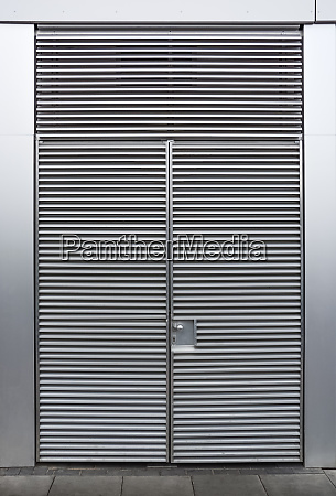 closed, metallic, grey, door, with, ripples. - 25999990