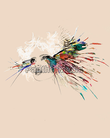 stylish woman and colorful feathers