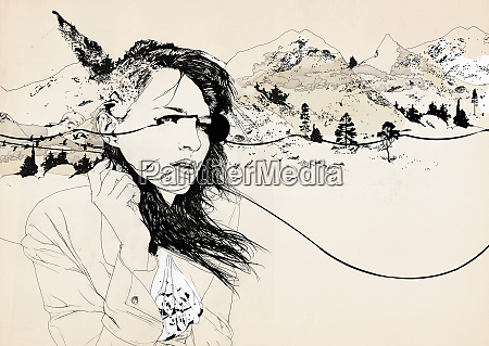 wind blowing on woman standing in