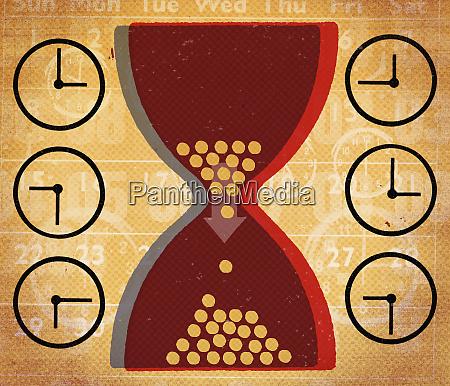 clocks and hourglass