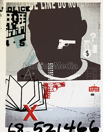 man with gun book and numbers