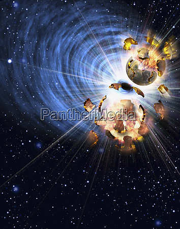 planets exploding in space