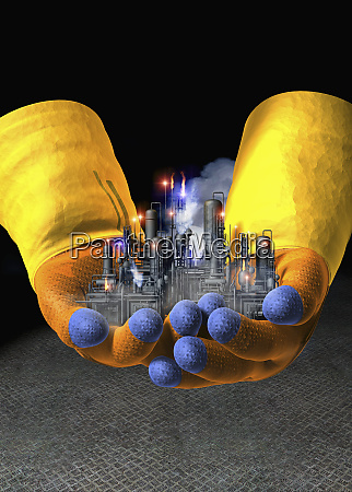 gloved hands holding toxic factory