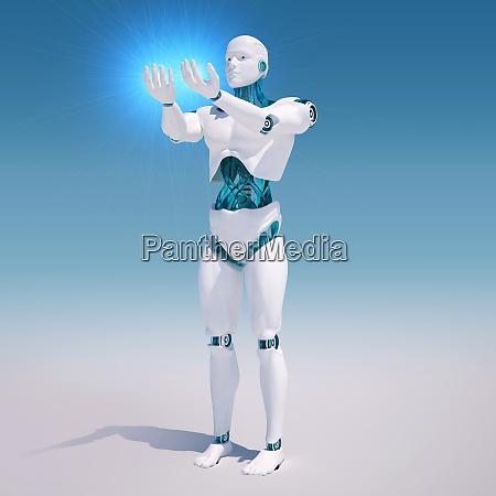 white android holding light