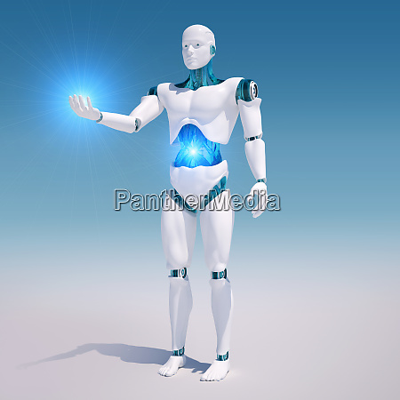 white android with illuminated stomach holding