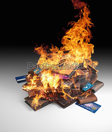 burning pile of credit cards and