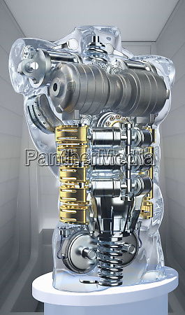engine in male torso of anatomical