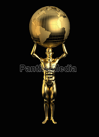 gold statue of man holding world