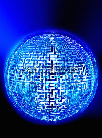 maze and binary code covering illuminated