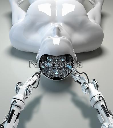 robotic arm repairing brain of male