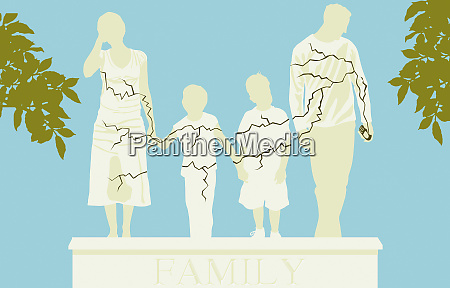 cracked family statue