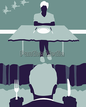 couple eating dinner with crevice between