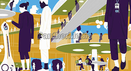 business people in futuristic conference center