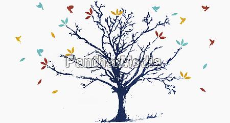 birds flying around bare tree