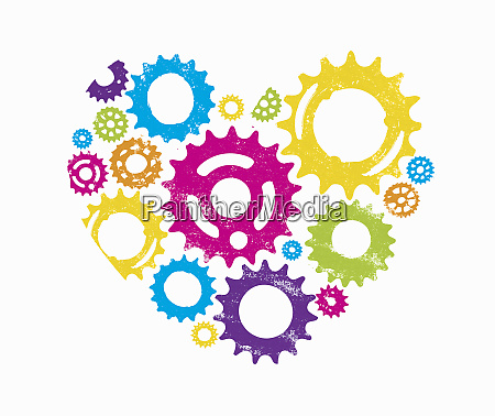 multicolored cogs forming heart shape