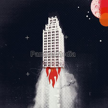 skyscraper rocket rising into space