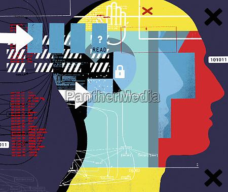 arrow data and padlock over human