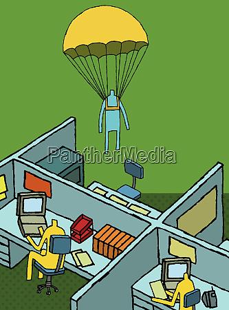 businessman parachuting into office
