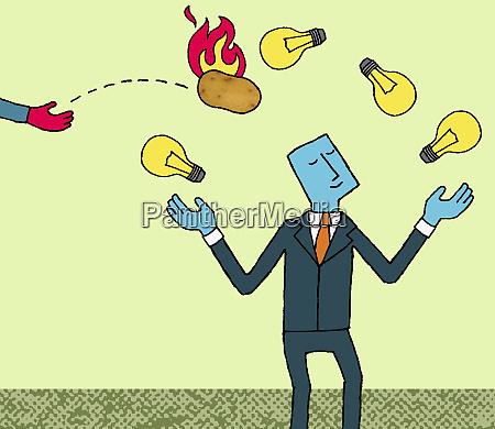businessman juggling light bulbs