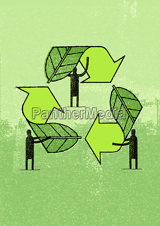 men forming recycling symbol out of