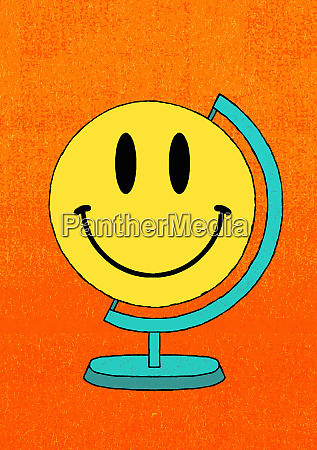 smiley face globe