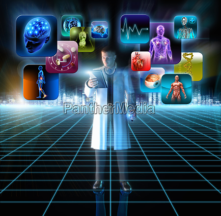medical doctor using digital table to