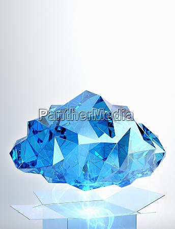 blue crystal cloud above storage box