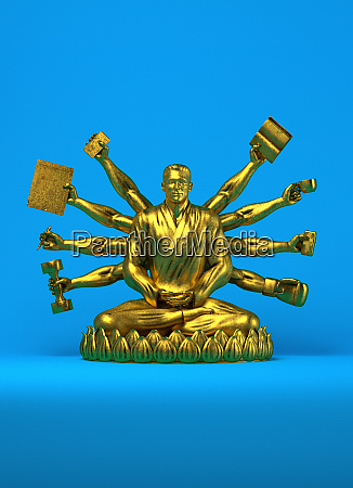 gold statue of businessman as buddha