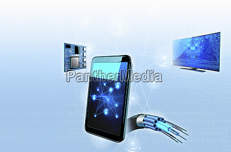 smart phone connected to high tech