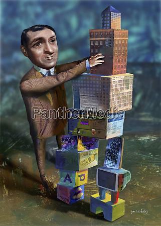 man stacking building blocks