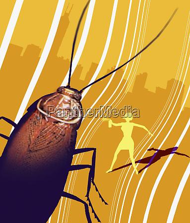 woman spraying killer bug