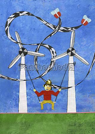 child swinging on windmill swing