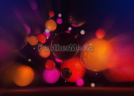 abstract floating red and pink spheres
