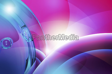 abstract swirling blue and pink bubbles