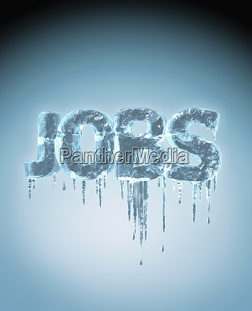the word jobs frozen with icicles