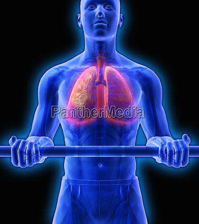 man with red lungs lifting weights