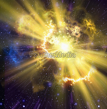 yellow supernova exploding in outer space