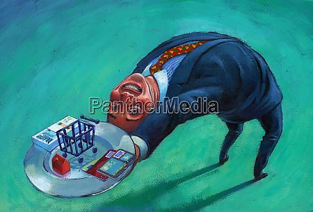 businessman bending backward holding cash and