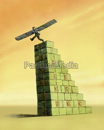 businessman with wings stepping off stack