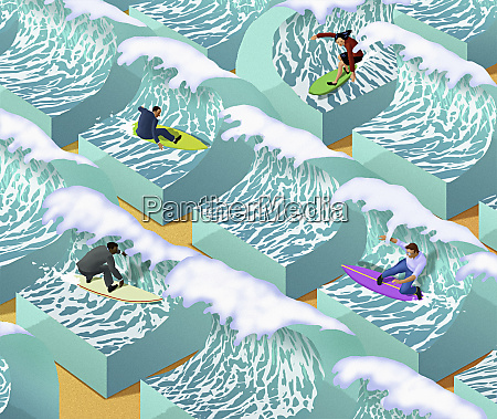 business people surfing separate waves