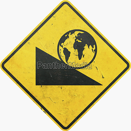 yellow caution sign with globe rolling