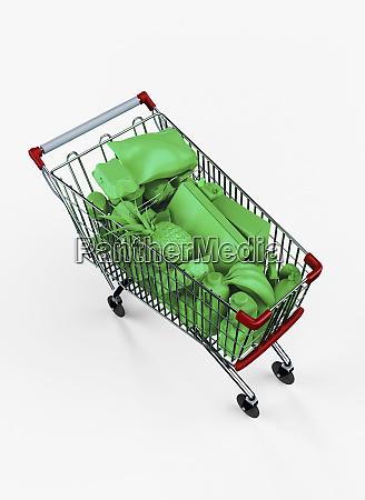 shopping cart full of green groceries