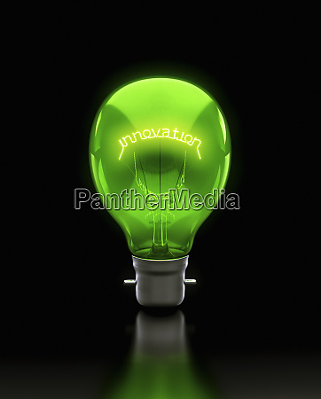 green light bulb filament with letters