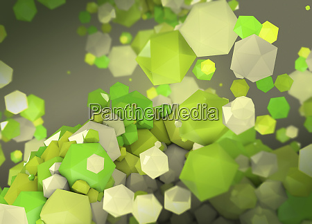 abstract of different sized green polygons