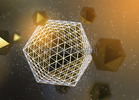 abstract pattern of gold polyhedra orbiting