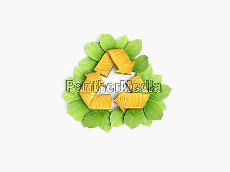 recycling symbol surrounded by leaves