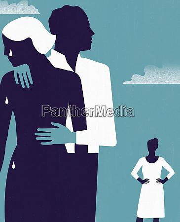 woman watching man comforting crying woman