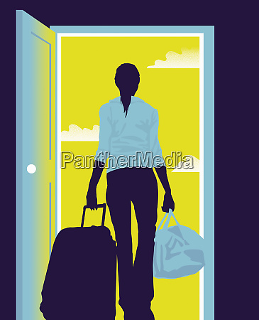 teenage girl with suitcase leaving home