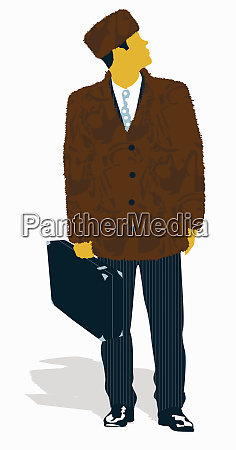 businessman in fur suit jacket and