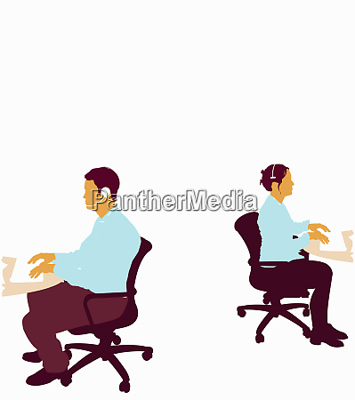 businessman and businesswoman working in call